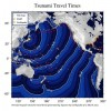 Graphics of Japan Tsunami : Energy & Travel Time